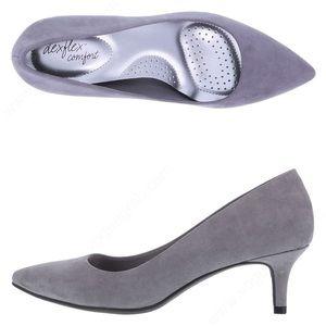 Dexflex Comfort Light grey suede low heel
